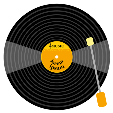 grooves: Gramophone vinyl LP record with music note. old technology, realistic retro design, vector art image illustration.