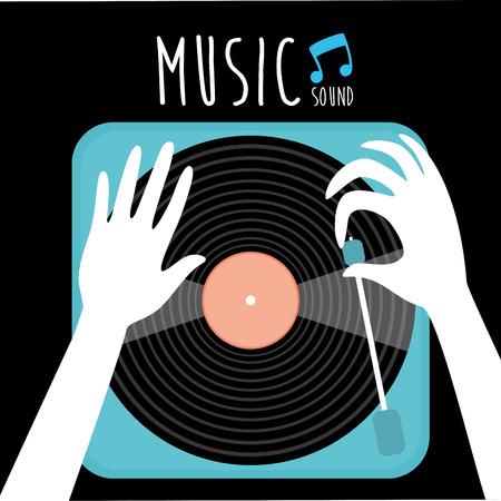 蓄音機ビニール LP レコード音楽に注意を。古い技術、現実的なレトロなデザイン、ベクトル アート イメージ イラスト。