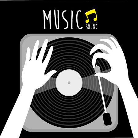 Gramophone vinyl LP record with music note. old technology, realistic retro design, vector art image illustration.