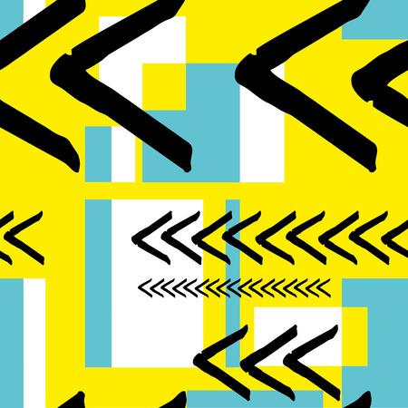 Striped geometric seamless pattern design. Hand drawn black stripes. Vector Illustration