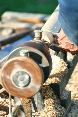 wood turning: Wood lathe turning