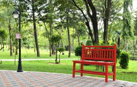 red bench in garden Stock Photo