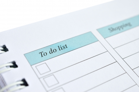To do list on a notebook representing things to do when organizing a schedule Stock Photo - 15788538