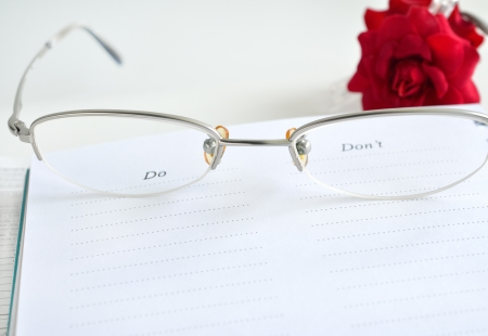 Glasses and notebook photo