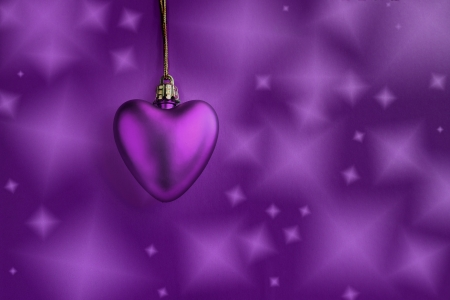 Lavender heart and purple background Stock Photo - 17296299