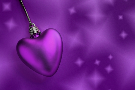 Lavender heart and purple background photo