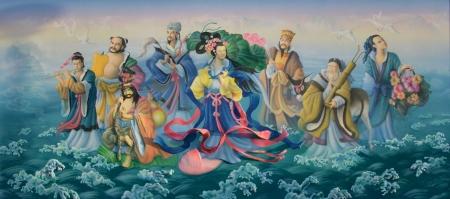 Goden van het Chinees. Kunst schilderij kleurrijk op het heiligdom muur.