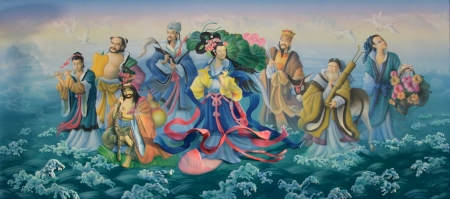 Gods of Chinese. Art painting colorful on the shrine wall.
