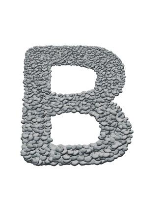 alfabeto com textura de pedra no fundo branco
