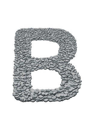 alphabet with stone texture on white background
