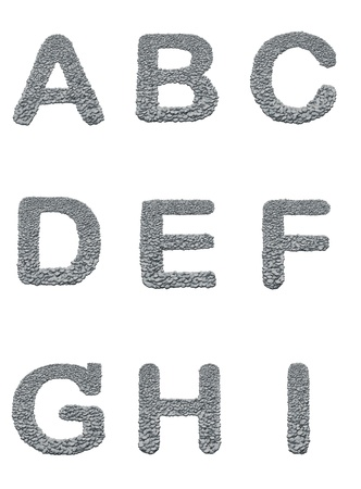 alphabet with stone texture on white background photo
