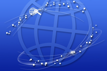 Concept of global business blue background photo