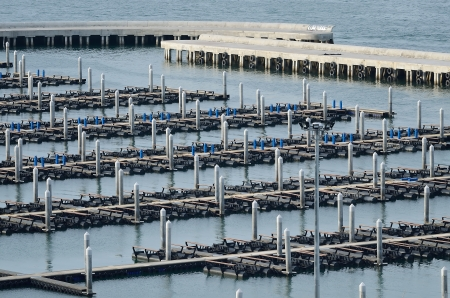 Area docks for speed boat in the bay