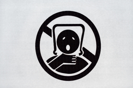 Warning sign on plastic bag. To avoid danger from suffocation from babies and children sign.