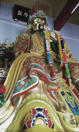 Statue of Guan Yu God in chinese shrine, Thailand