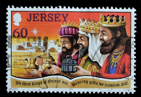 JERSEY - CIRCA 1994 : Postage stamp printed in Jersey shows the three kings, circa 1994 Editorial