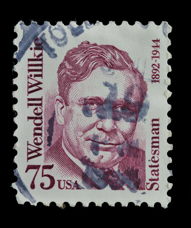 statesman: USA - CIRCA 1992 : postage stamp printed in the USA shows Wendell Willkie, Politician and Lawyer, statesman 1892-1944, circa 1992