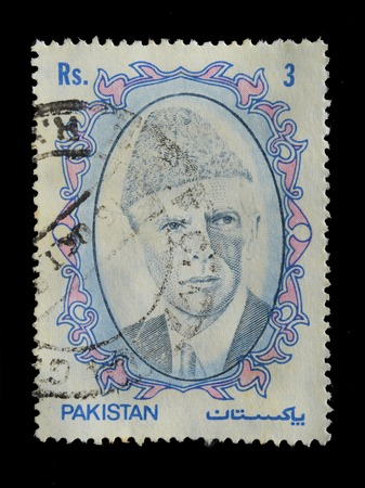 jinnah: PAKISTAN - CIRCA 1952 : postage stamp printed in Pakistan shows image of Muhammad Ali Jinnah was a 20th century lawyer, politician, statesman and the founder of Pakistan, circa 1952 Editorial