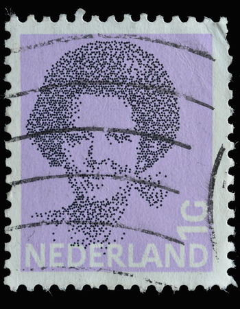 beatrix: NETHERLANDS - CIRCA 1981 : postage stamp printed in the Netherlands shows a portrait of Queen Beatrix, circa 1981
