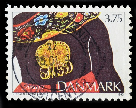 DENMARK - CIRCA 1993 : postage stamp printed in Denmark shows ethnic Jewelry with owners monogram, Amager, circa 1993. Editorial