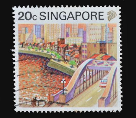 1987 年頃、シンガポール: シンガポールで印刷された切手に 1987 年頃、シンガポールの都市の景観が描かれています。