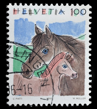 helvetia: SWITZERLAND-CIRCA 1993 : postage stamp printed in Switzerland, shows a horse and foal, circa 1993