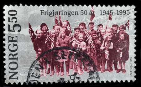 liberation: NORWAY - CIRCA 1995 : stamp printed by Norway, shows liberation 50 years 1945-1995, circa 1995 Editorial