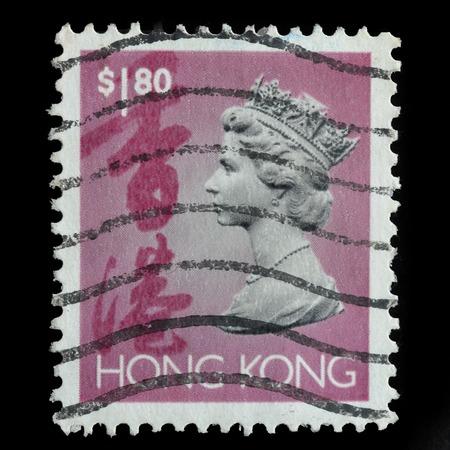 HONG KONG - CIRCA 1994: selo impresso pela Hong Kong, mostra retrato da rainha Elizabeth II, circa 1994