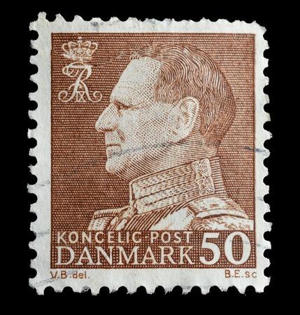 ix portrait: DENMARK - CIRCA 1967   a postage stamp shows a portrait of King Frederick IX, circa 1967