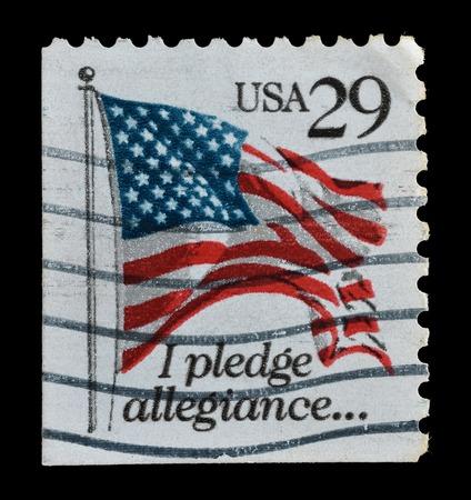 allegiance: USA - CIRCA 1992   postage stamp printed in the USA shows USA Flag, Pledge of Allegiance, circa 1992