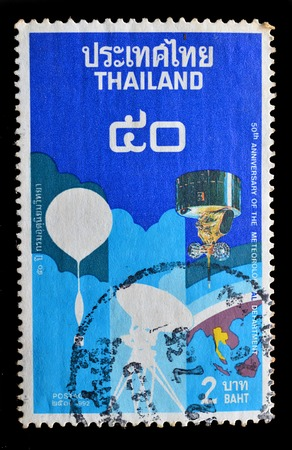 meteorological: THAILAND - CIRCA 1992 : A stamp printed in Thailand shows the 50th Anniversary of the Meteorological department, circa 1992 Editorial
