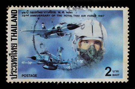 THAILAND - CIRCA 1987 : A stamp printed in Thailand shows the 72nd Anniversary of the royal thai air force 1987, circa 1987 Editorial