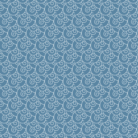 Seamless vector swirl white and blue wave Japanese pattern background Vector