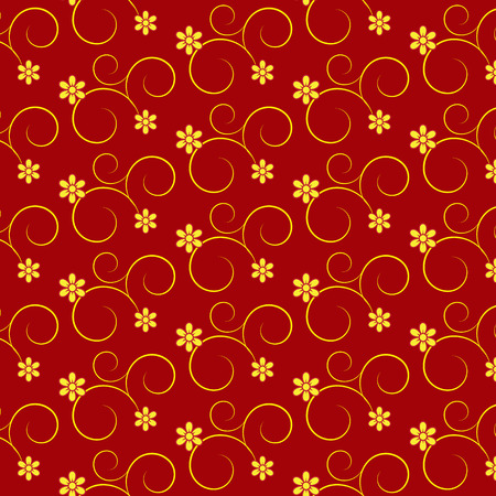 vector seamless curve and floral pattern red background