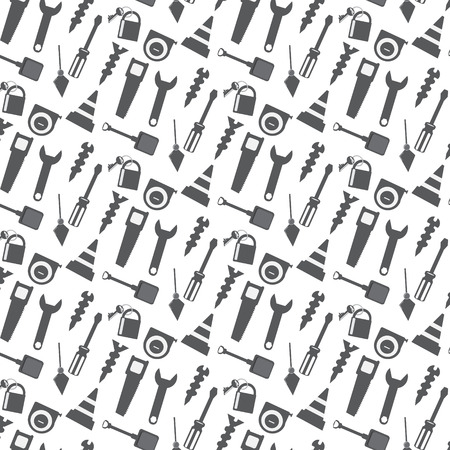 seamless pattern working tools icon monochrome background
