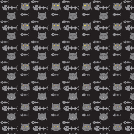 illustration of black fishbone: seamless vector pattern cats and fishbone on black background