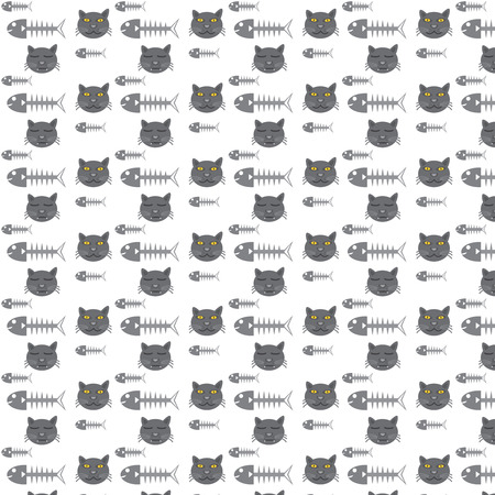 illustration of black fishbone: seamless vector pattern cats and fishbone for background
