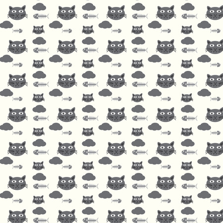 illustration of black fishbone: seamless vector pattern cats and fishbones on ivory background Illustration