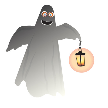 ghosts and lantern Halloween decorate illustration. Illustration