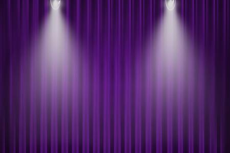 cortina roxa e luz para o fundo