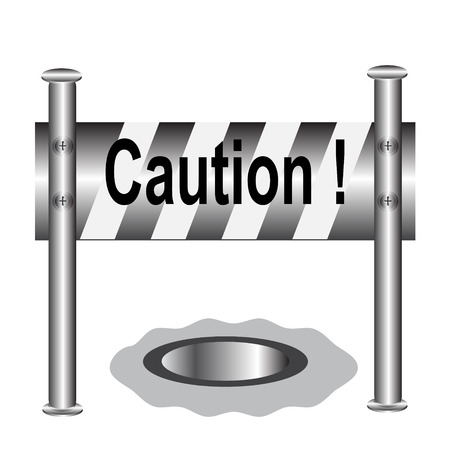 barricade: barricade warning sign, Caution sign vector illustration Illustration