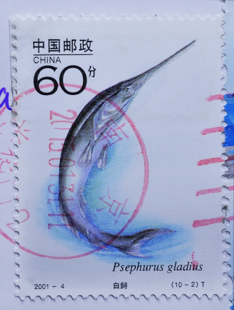 chinese postage stamp: CHINA  - CIRCA 2001 : postage stamp printed in China shows Chinese paddlefish (Psephurus gladius), circa 2001