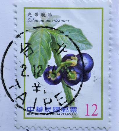 philatelist: REPUBLIC OF CHINA (TAIWAN) - CIRCA 2012 : postage stamp printed in Taiwan shows Berries, circa 2012 Editorial