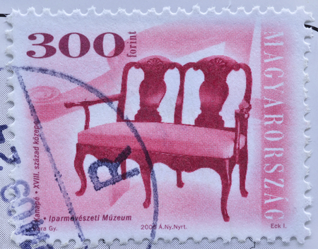 philatelist: HUNGARY - CIRCA 2006 : postage stamp printed in Hangary shows antique chair - series furniture type, circa 2006 Editorial