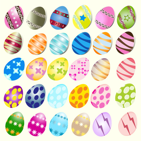 april clipart: 30 illustration of easter eggs on a white background