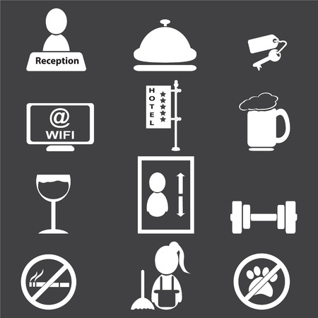 Hotel, miscellaneous icons, vector illustration