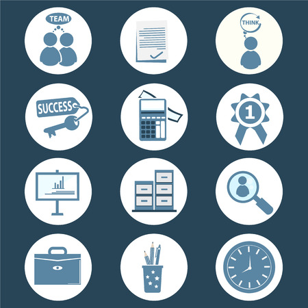 whit: office and business icon set vector illustration
