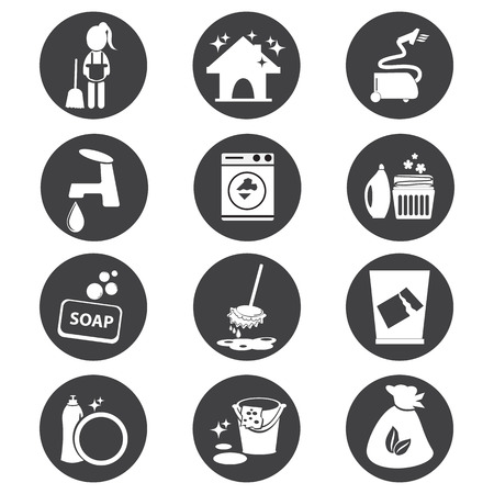 cleaning equipment: cleaning icon set vector illustration