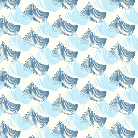 tide: seamless blue wave Japanese pattern background