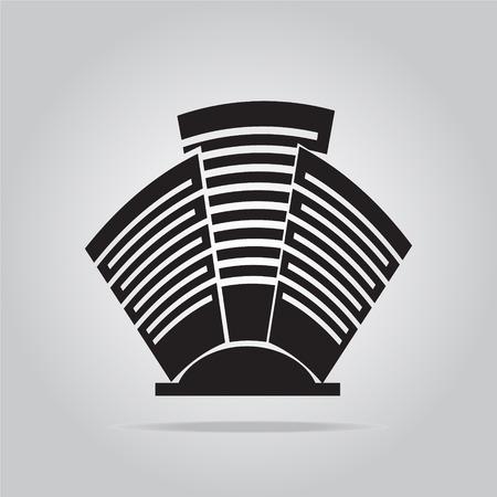 icone office: B�timent bureau ic�ne illustration vectorielle Illustration